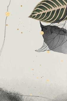 Orientalne liście i złota szczegółowa ramka na beżu