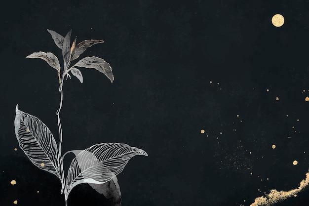 Orientalne liście i złota szczegółowa ramka na czarnym wektorze