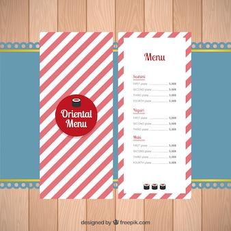 Orientalne menu z czerwonymi i białymi paskami
