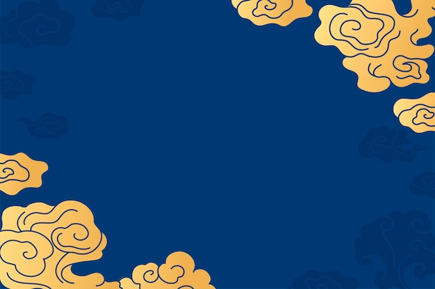 Orientalne tło pulpitu, chiński chmura niebieski wektor ilustracji
