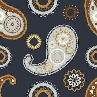 Orientalne wzory paisley bez szwu. kwiatowy ornament streszczenie na ciemnym tle.