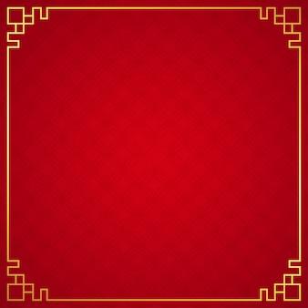 Orientalny chińczyk granicy ornament na czerwonym tle, wektorowa ilustracja