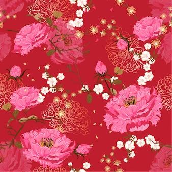 Orientalny delikatny kwiat wektorowy bezszwowy kwiecisty wzór