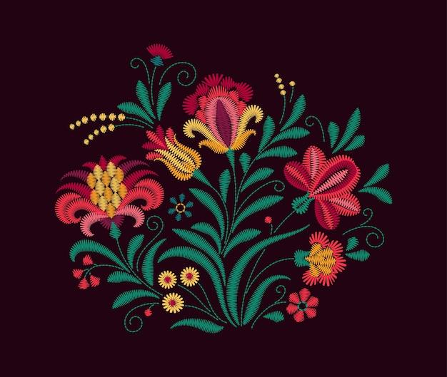Orientalny motyw kwiatów. imitacja haftu. bukiet kwiatów