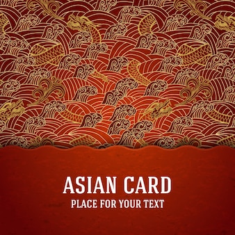 Orientalny projekt okładki ze smokami i falami