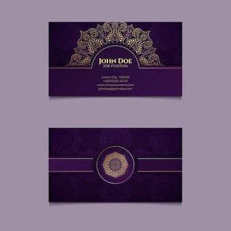Orientalny szablon wizytówki z mandalą