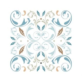 Orientalny wektor kwadratowy ornament z elementami arabeski