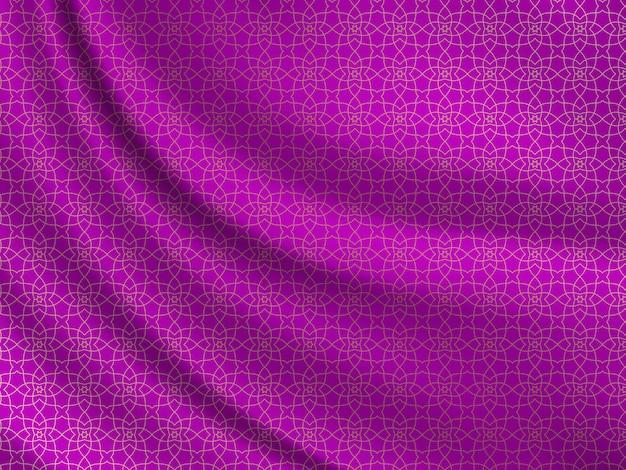 Orientalny wzór na falistej jedwabnej tkaninie.