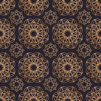 Orientalny wzór z okrągłymi kształtami geometrycznymi narysowanymi złotymi konturami na czarnym tle. arabski kwiatowy geometryczne tło. ilustracja wektorowa na papier pakowy, nadruk na tkaninie.