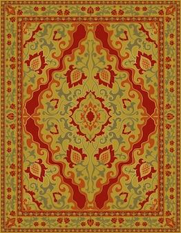 Orientalny żółty dywan.