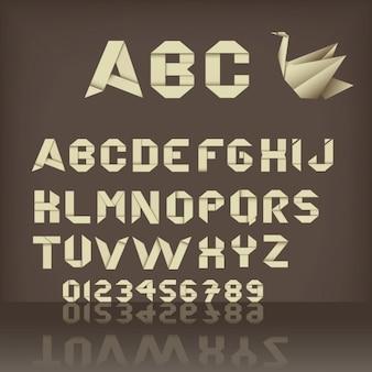 Origami kształtuje alfabetu