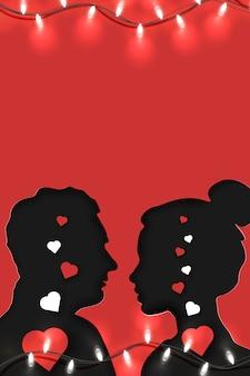 Origami papierowa sztuka zakochanej pary stoi naprzeciwko siebie z pustym miejscem na kopię, na czerwono. nadaje się do zaproszenia, plakatu, karty z pozdrowieniami.