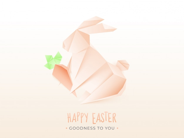 Origami papierowy królik trzyma marchewki na bielu