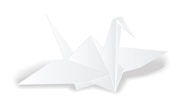 Origami żuraw biały papier ptak wektor na białym tle