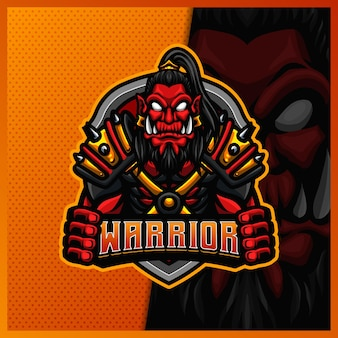 Ork wiking wojownik samuraj maskotka esport projekt logo szablon ilustracje, styl kreskówki
