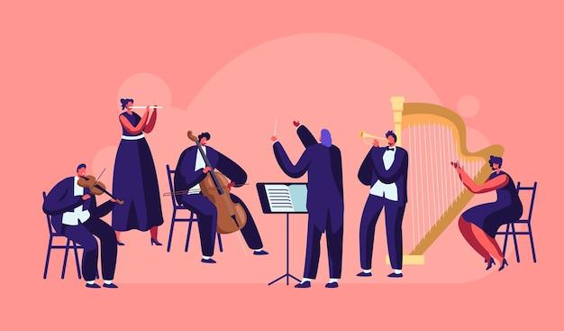 Orkiestra symfoniczna grająca koncert muzyki klasycznej
