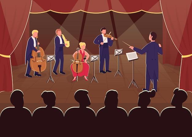 Orkiestra wykonania symfonii płaski kolor. dyrygent z muzykiem. nocny pokaz na żywo. rozrywka dla publiczności. zespół muzyki klasycznej postaci z kreskówek 2d ze sceną w tle