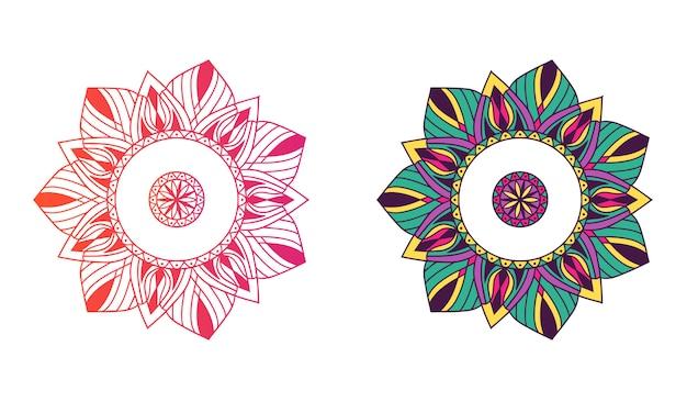 Ornament artystyczny mandali, kwiatowy, etniczny kolor gradientu i kolor mandali