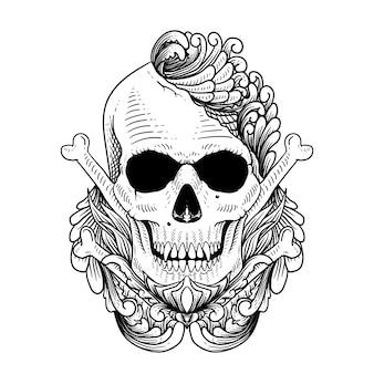 Ornament czaszki czarno-biały