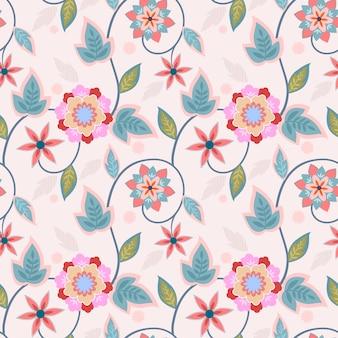 Ornamentów kwiatów projekta bezszwowej deseniowej tkaniny tekstylny tapetowy tło.