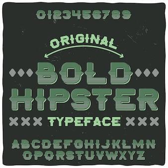 """Oryginalna czcionka etykiety o nazwie """"pogrubiony hipster"""""""