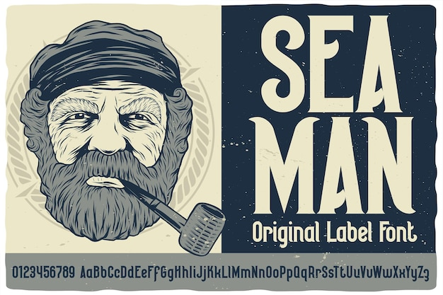 Oryginalna czcionka etykiety o nazwie seaman. krój w stylu vintage do dowolnego projektu, takiego jak plakaty, koszulki, logo, etykiety itp.