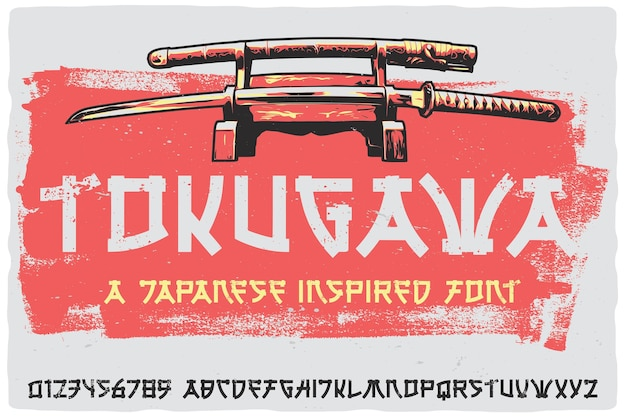 Oryginalna czcionka etykiety o nazwie tokugawa. vintage, japońska czcionka do dowolnego projektu, takiego jak plakaty, koszulki, logo, etykiety itp.