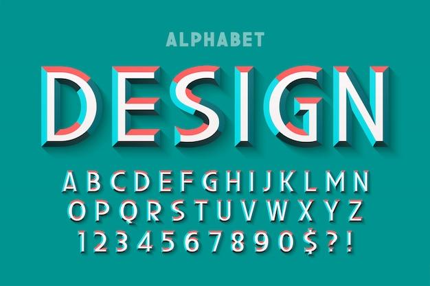 Oryginalna czcionka z fasetkami, alfabetem, literami
