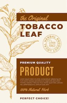 Oryginalna etykieta abstrakcyjna liści tytoniu, nowoczesna typografia i ręcznie rysowane gałązki...