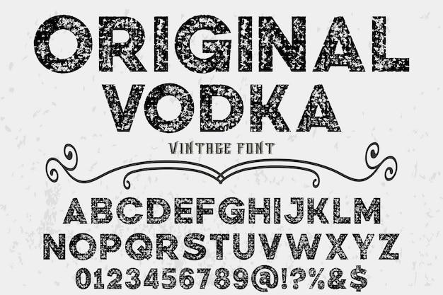 Oryginalna etykieta projekt alfabetu wódki