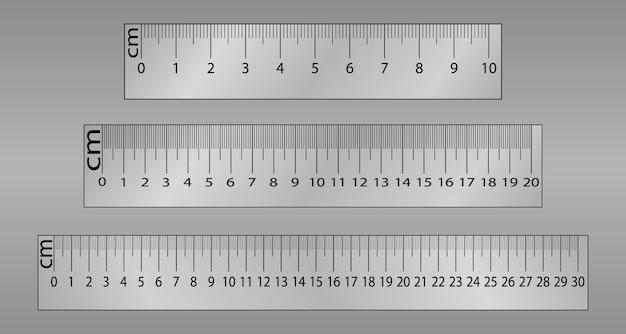 Oryginalna linijka centymetrowa. narzędzia pomiarowe, podziałka, płaska ilustracja.