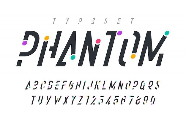Oryginalna modna czcionka, alfabet i cyfry.