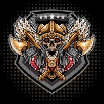 Oryginalne logo wikingów z czaszką i dwoma toporami