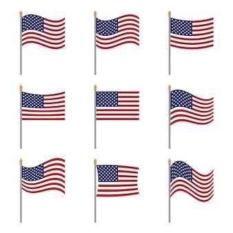 Oryginalne płaskie flagi narodowe stanów zjednoczonych ameryki ustawione na białym oficjalne kolory proporcja usa