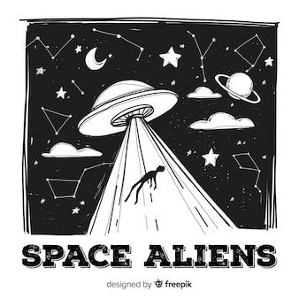 Oryginalne ręcznie rysowane pojęcie uprowadzenia ufo