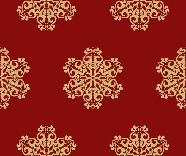 Oryginalne świąteczne tło z bezszwowymi wzorami płatków śniegu czerwone tło z ornamentem