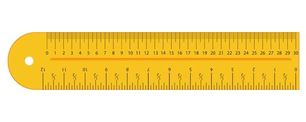 Oryginalne żółte cale i linijka centymetrowa. narzędzia pomiarowe, podziałka, płaska ilustracja.