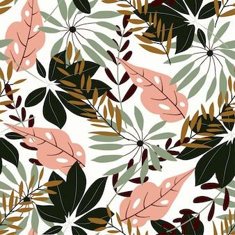 Oryginalny bezszwowy wzór z tropikalnymi liśćmi