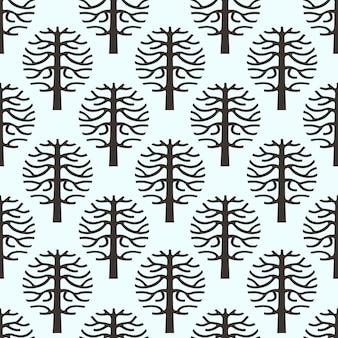 Oryginalny bezszwowy wzór z wektorową drzewną sylwetką