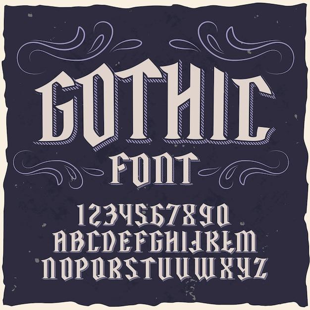 """Oryginalny krój czcionki nazwany """"gothic""""."""
