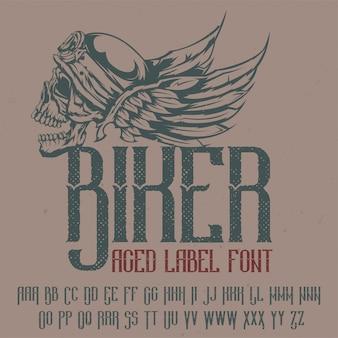 """Oryginalny krój pisma o nazwie """"biker"""". dobry w użyciu w każdym projekcie etykiety."""