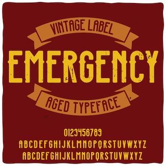 """Oryginalny krój pisma o nazwie """"emergency"""""""
