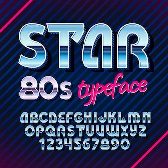 Oryginalny krój pisma o nazwie gwiazda w stylu retro