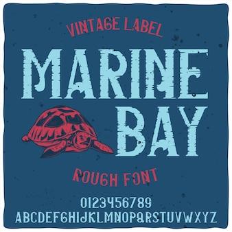 """Oryginalny krój pisma o nazwie """"marine bay""""."""