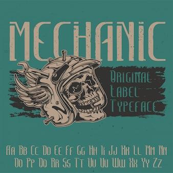 """Oryginalny krój pisma o nazwie """"mechanik"""". dobry w użyciu w każdym projekcie etykiety."""