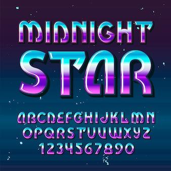 """Oryginalny krój pisma o nazwie """"midnight star""""."""