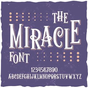 """Oryginalny krój pisma o nazwie """"miracle""""."""