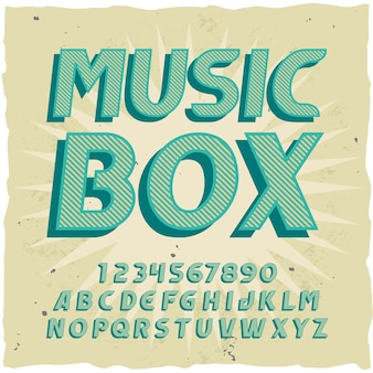 """Oryginalny krój pisma o nazwie """"music box""""."""