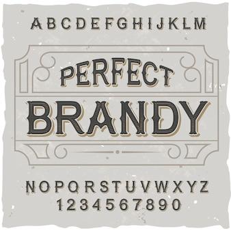 """Oryginalny krój pisma o nazwie """"perfect brandy""""."""