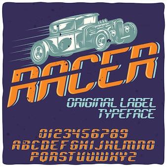 """Oryginalny krój pisma o nazwie """"racer""""."""